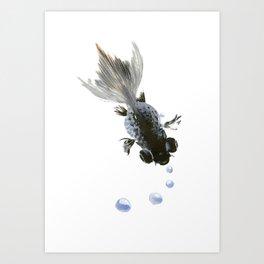 Black Fish, feng shui zen brush minimalist ink art design Art Print