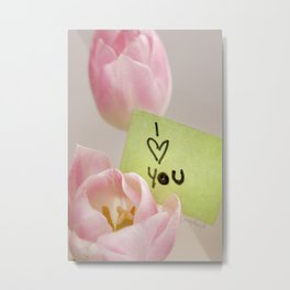 I Heart You with Pink Tulips Metal Print