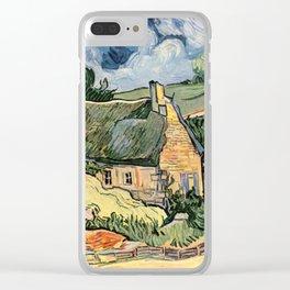 Vincent Van Gogh Thatched Cottages at Cordeville 1890 Clear iPhone Case