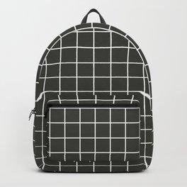 Black olive - grey color - White Lines Grid Pattern Backpack