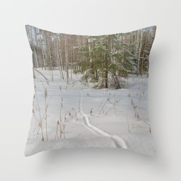 Fox tracks in snowy forest Throw Pillow