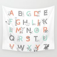 alphabet Wall Tapestries featuring Animal Alphabet by Amy Hamilton