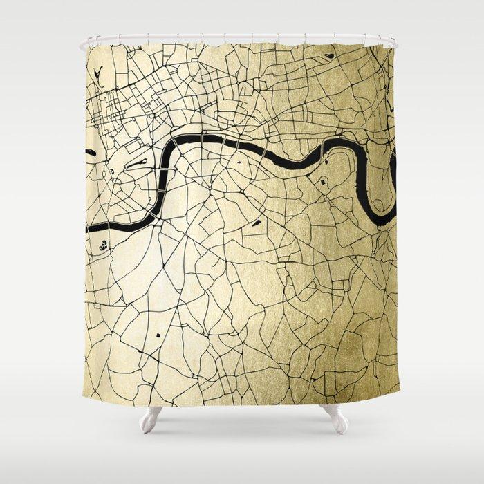 London Gold on Black Street Map Shower Curtain
