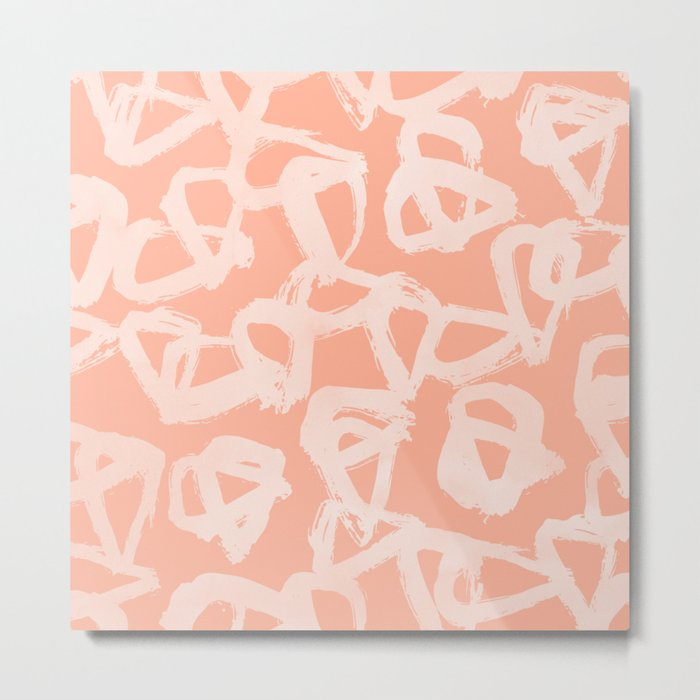 Sweet Life Triangle Dots Peach Coral Pink Metal Print