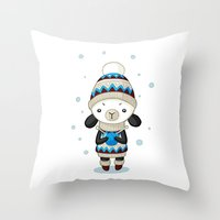 sheep Throw Pillows featuring Sheep by Freeminds