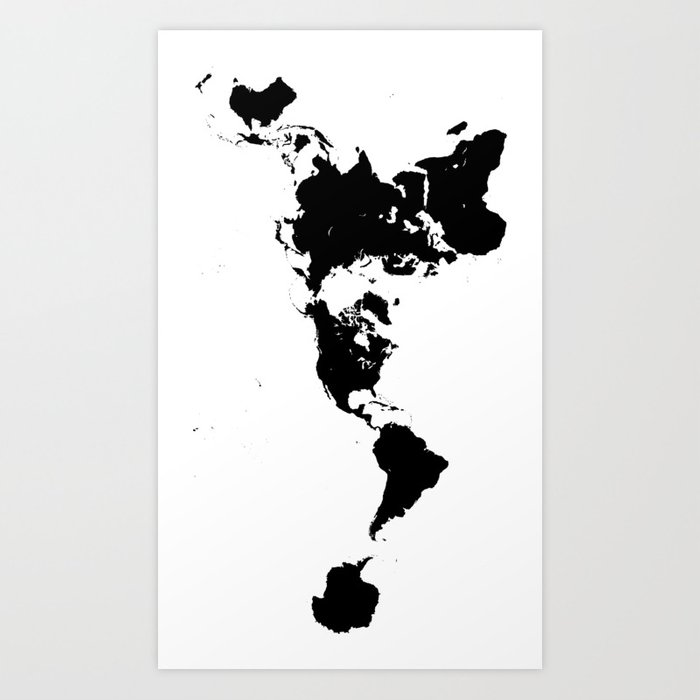 Dymaxion World Map (Fuller Projection Map) - Minimalist Black on White Kunstdrucke