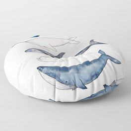 Watercolor orca whale, spermwhale, humpback, narwhal, beluga whales Floor Pillow
