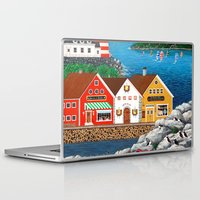 puffin Laptop & iPad Skins featuring Puffin Point by Kirbeekatz