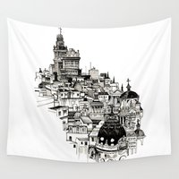 madrid Wall Tapestries featuring Madrid by Justine Lecouffe