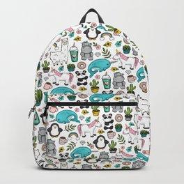 Girly Icon Art, Narwhals, Pandas, Llamas, Unicorns, Penguins and Baby Hippos, Emoji Tween Girl Art Backpack
