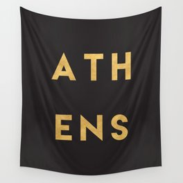 ATHENS GREECE GOLD CITY TYPOGRAPHY Wall Tapestry