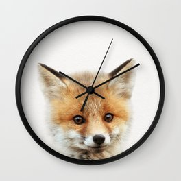Baby Fox, Baby Animals Art Print By Synplus Wall Clock