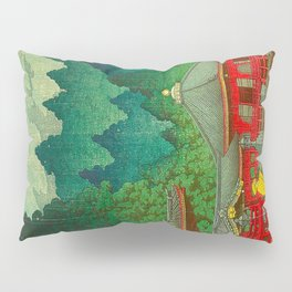 Vintage Japanese Woodblock Print Rainy Day At The Shinto Shrine Tall Pine trees Yellow Rain Coat Pillow Sham