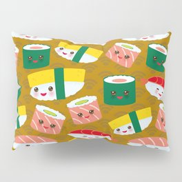 pattern Kawaii funny sushi set with pink cheeks and big eyes, emoji on brown mustard background Pillow Sham