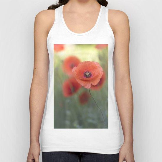 Beautiful poppy in a meadow Unisex Tank Top