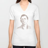 leon V-neck T-shirts featuring Leon Czolgosz by Neil Campau