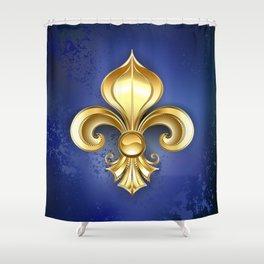 Gold Fleur De Lis on a Blue Background Shower Curtain