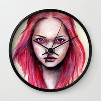 gemma correll Wall Clocks featuring Pink Gemma-2012   by Bella Harris