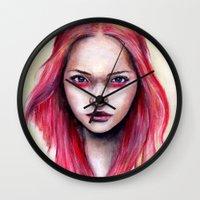 gemma Wall Clocks featuring Pink Gemma-2012   by Bella Harris