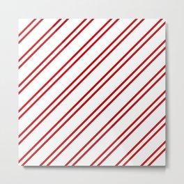 Red Diagonal lines pattern Metal Print