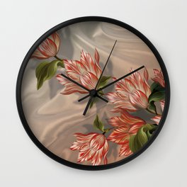 """Coral flowers on white silk"" (Air Spring) Wall Clock"