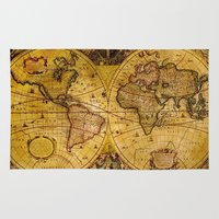 vintage map Area & Throw Rugs featuring VintaGe Map by ''CVogiatzi.