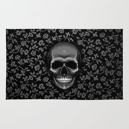 Skull with Floral Pattern Rug