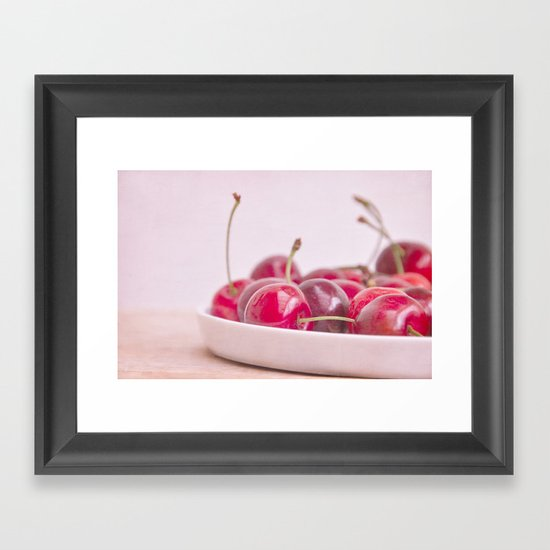 still life with cherries Framed Art Print