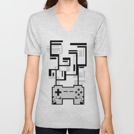 8-BIT JOYSTICK (GREY) Unisex V-Neck