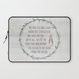 Moms Love w/Weathered wood background Laptop Sleeve