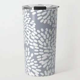 Grey and White Abstract Firework Flowers Travel Mug