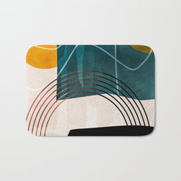 mid century shapes abstract painting Bath Mat