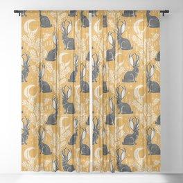 Jackalope - marigold and black  Sheer Curtain