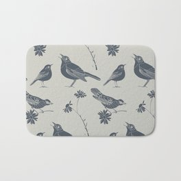 Birds and Daisies, drawing in blue and grey Bath Mat