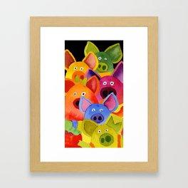 colorful pigs Framed Art Print