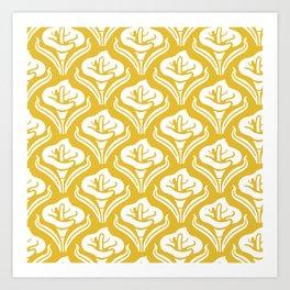 Calla Lily Pattern Mustard Yellow Art Print