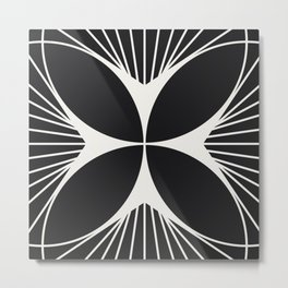 Diamond Series Floral Cross White on Charcoal Metal Print