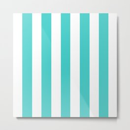 Medium turquoise - solid color - white vertical lines pattern Metal Print