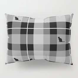 Black & White Kitty Kat Plaid Pillow Sham