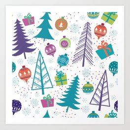 Colorful Christmas Trees and Ornaments Art Print