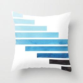 Cerulean Blue Minimalist Mid Century Modern Inca Watercolor Stripes Staggered Symmetrical Pattern Throw Pillow