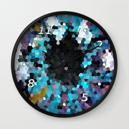 The pupil - abstract colorful background with a dark center Wall Clock