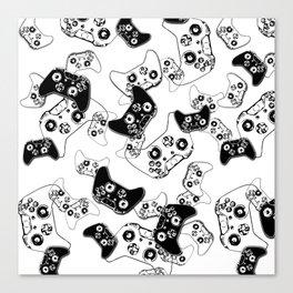 Video Game Black on White Canvas Print