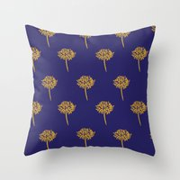 Throw Pillows featuring Navy dandelion by Coconut Textiles