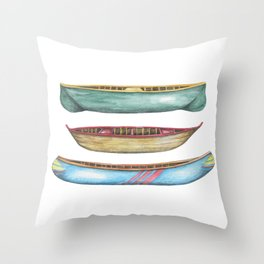 Canoes - Vintage Canoes - Canoe - Watercolor Throw Pillow