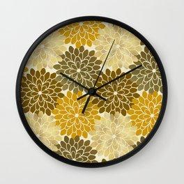 Golden Petals Pattern Wall Clock