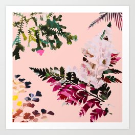 Colorful Ferns on Pink Background Art Print