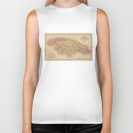 Vintage Map of Jamaica (1893) Biker Tank