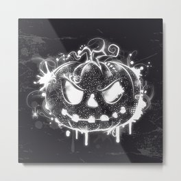 Pumpkin face black and white Metal Print