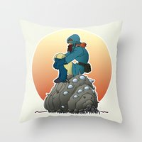 nausicaa Throw Pillows featuring Nausicaa & baby Ohmu taking a break... by kamonkey